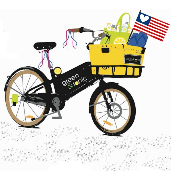 american flag with bike